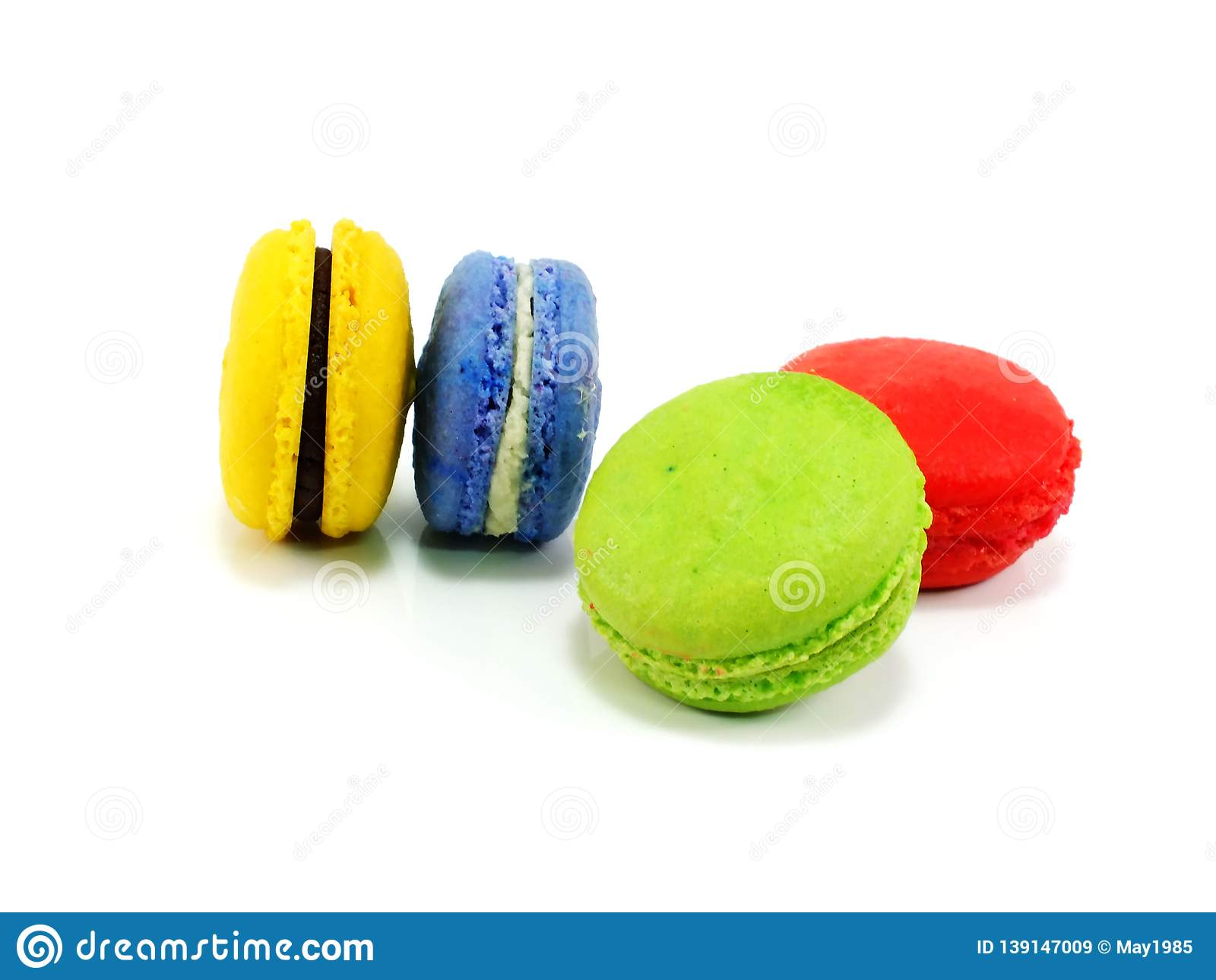 Colorful macaroon a French sweet delicacy on white background