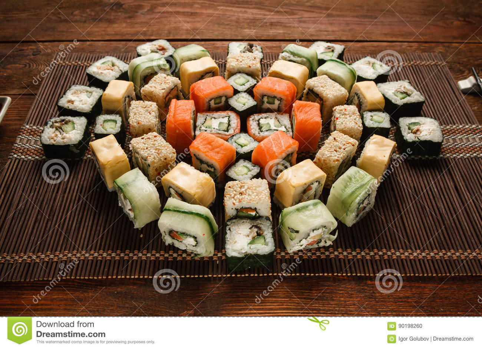 Tasty Colorful Set Of Japanese Sushi Rolls Closeup Stock Photo Image Of Oriental Seaweed 90198260