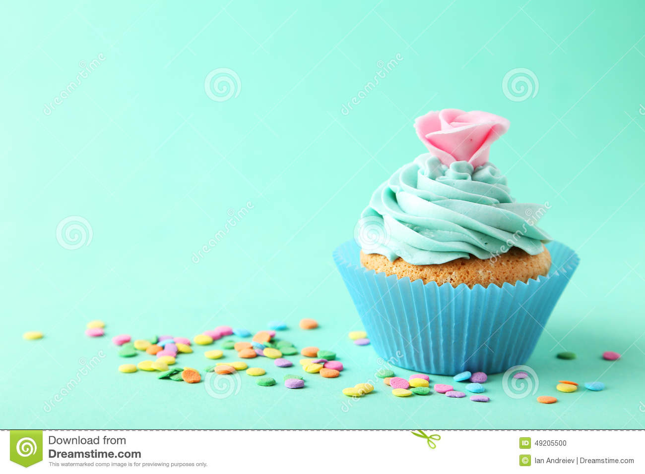 Tasty Cupcake On A Green Background Stock Photo Image Of