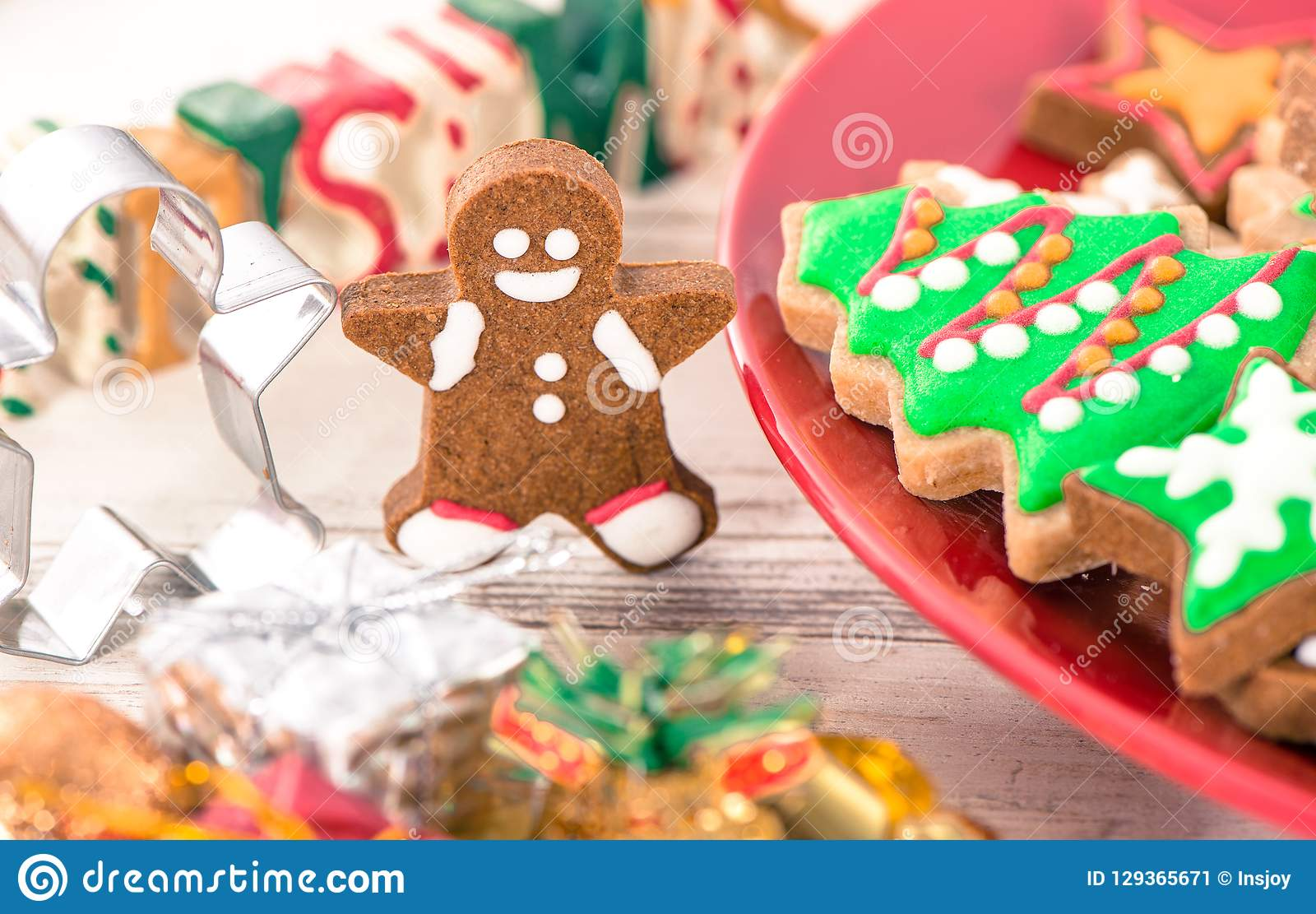 Tasty And Cute Baked Christmas Cookies Gingerbread Stock Image