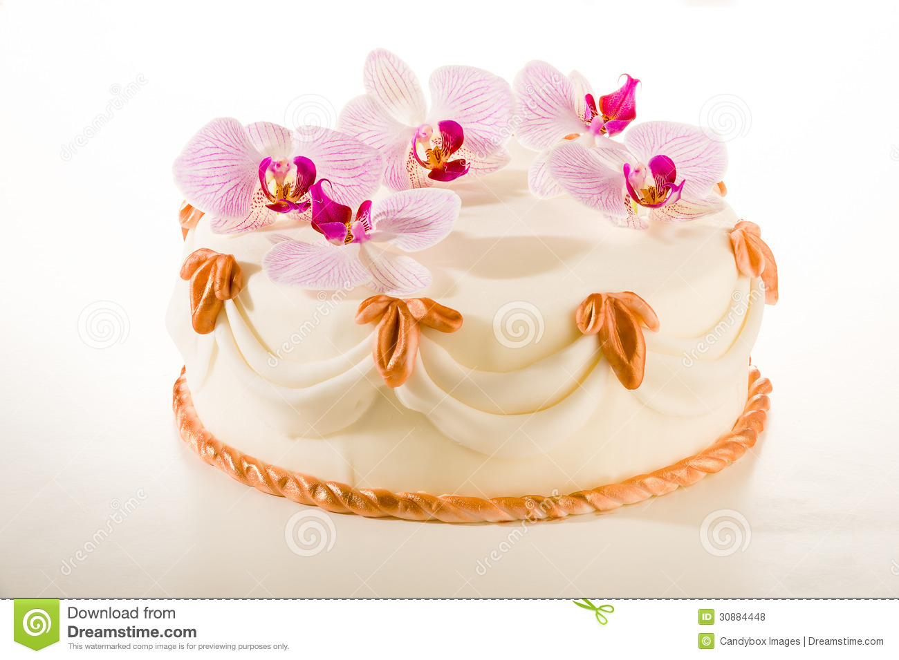 Tasty Decorated Cake In White Marzipan Coating Royalty