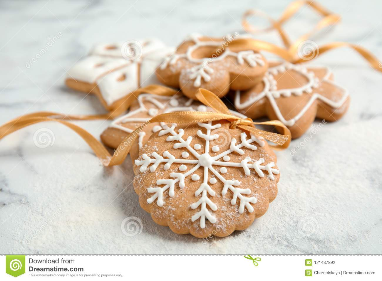Tasty Decorated Christmas Cookies With Ribbon Stock Photo Image Of