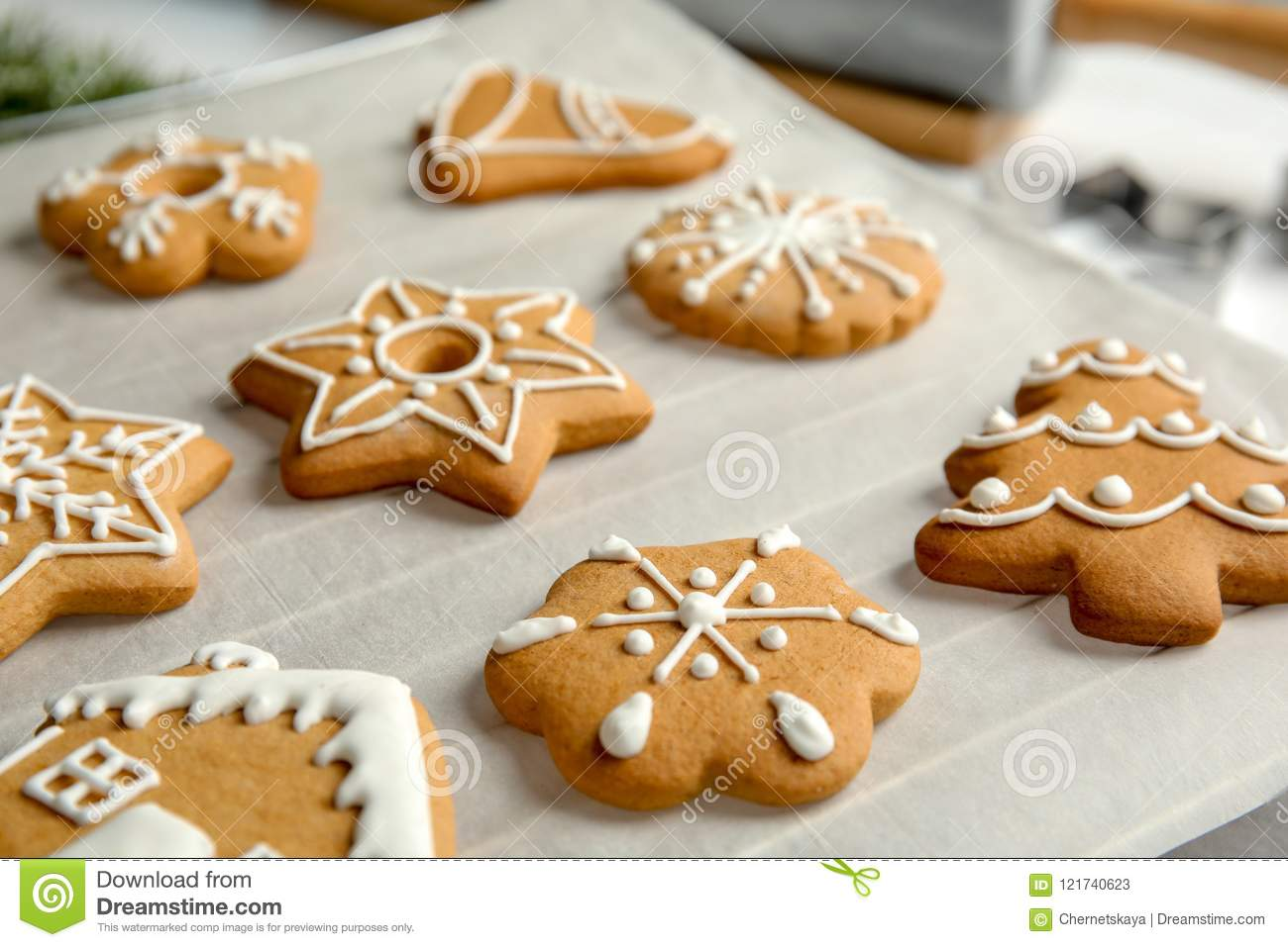 Tasty Decorated Christmas Cookies Stock Image Image Of Dessert