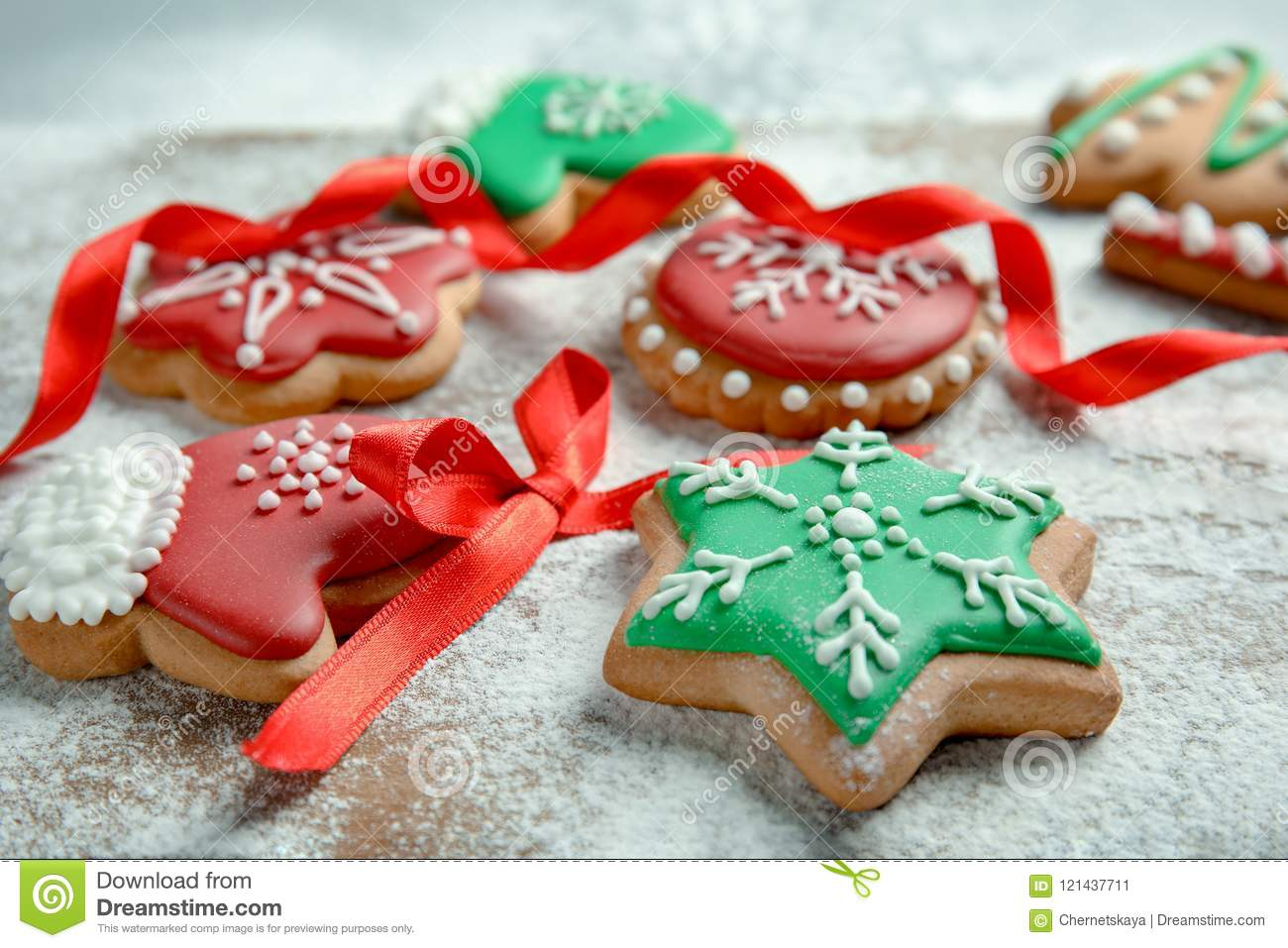 Tasty Decorated Christmas Cookies Stock Image Image Of Pastry