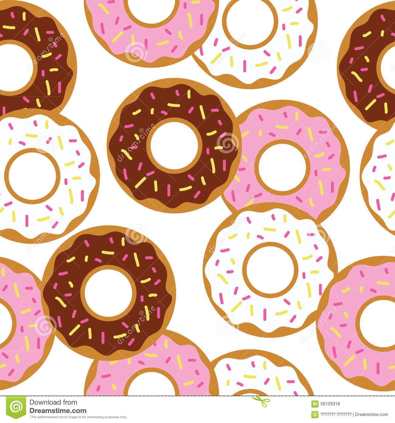 tasty donuts vector seamless pattern template stock vector