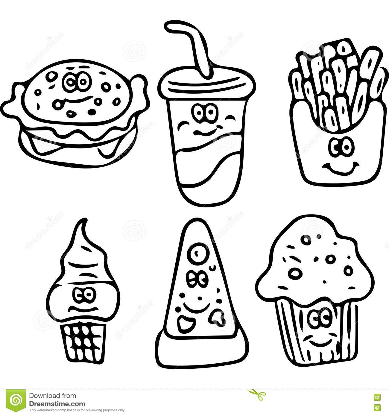 healthy fast food coloring pages - photo#17