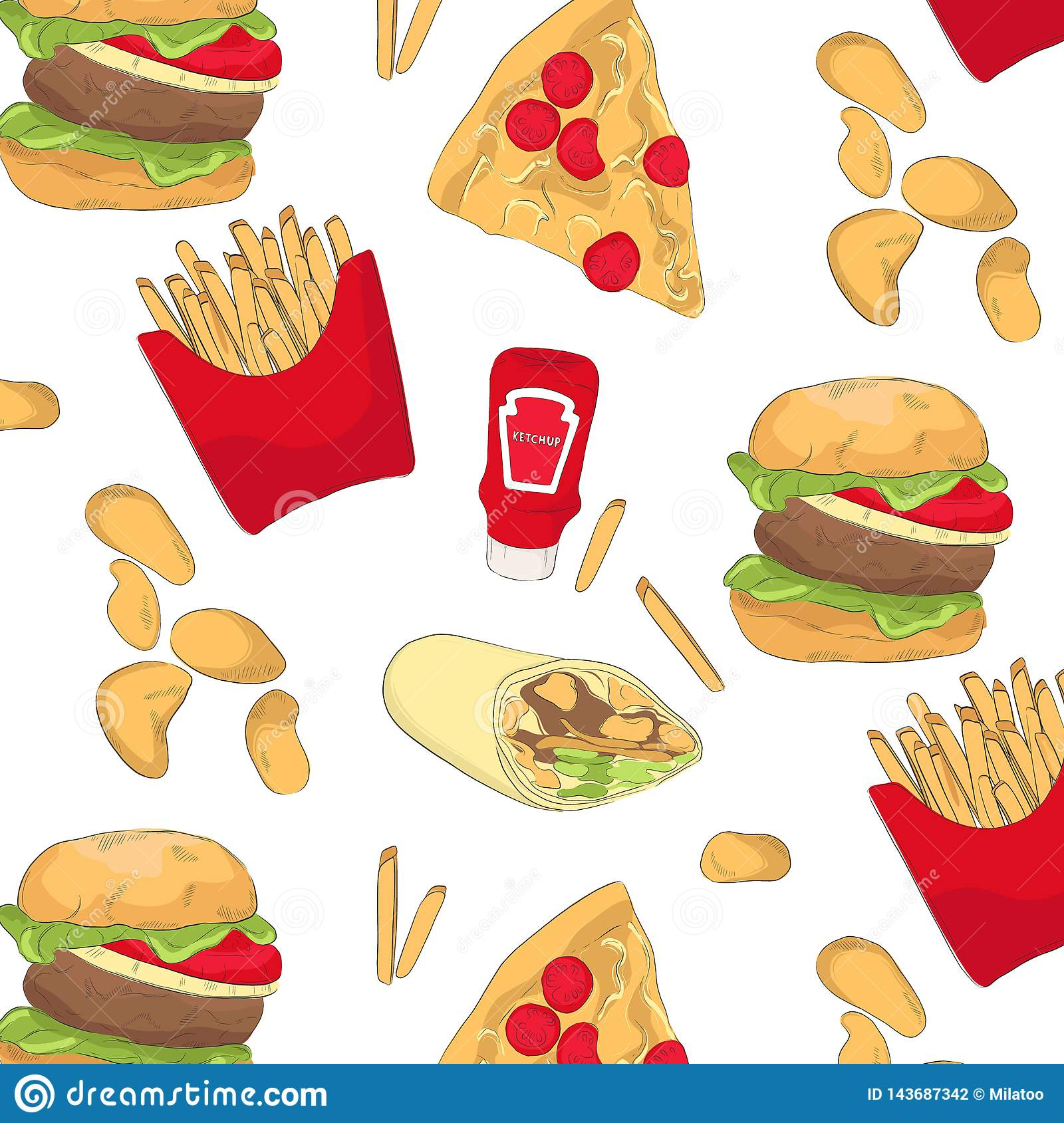 de44ee742e6c Tasty Fast Food Pattern With Chips, Burger, Pizza, Ketchup, Wrap ...