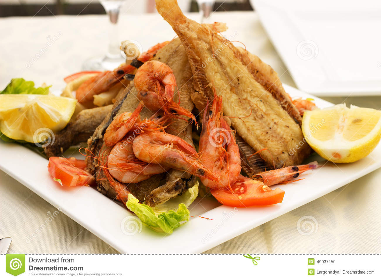 Tasty fish with seafood stock photo image 49037150 for Fried fish and shrimp