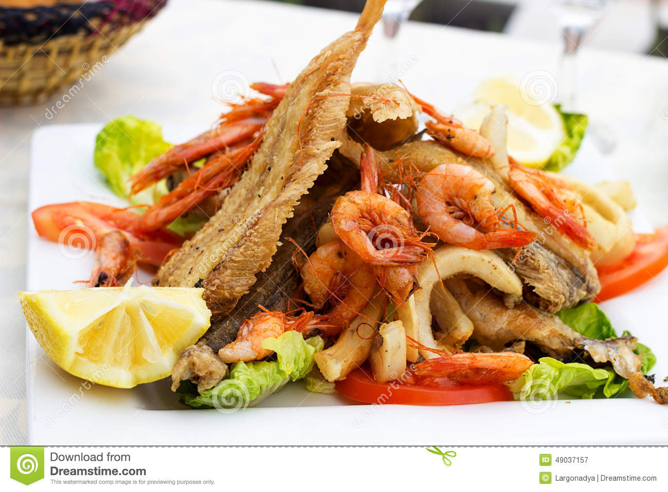 Tasty fish with seafood stock photo image 49037157 for Fried fish and shrimp