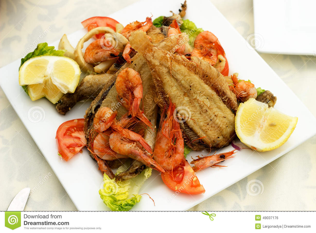 Tasty fish with seafood stock photo image 49037176 for Fried fish and shrimp