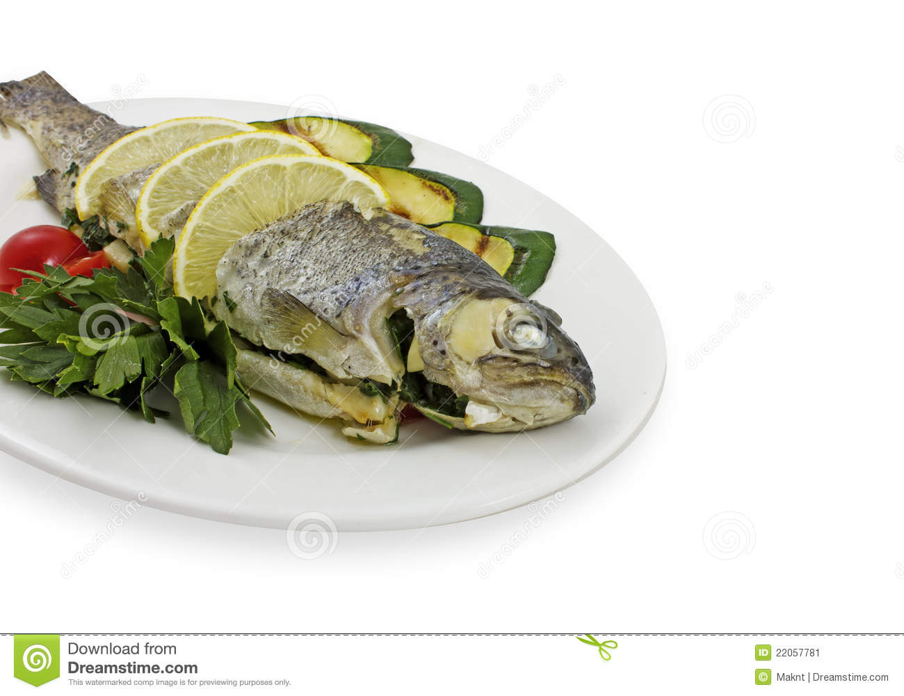 Tasty fish with vegetables stock image image 22057781 for Fish with vegetables