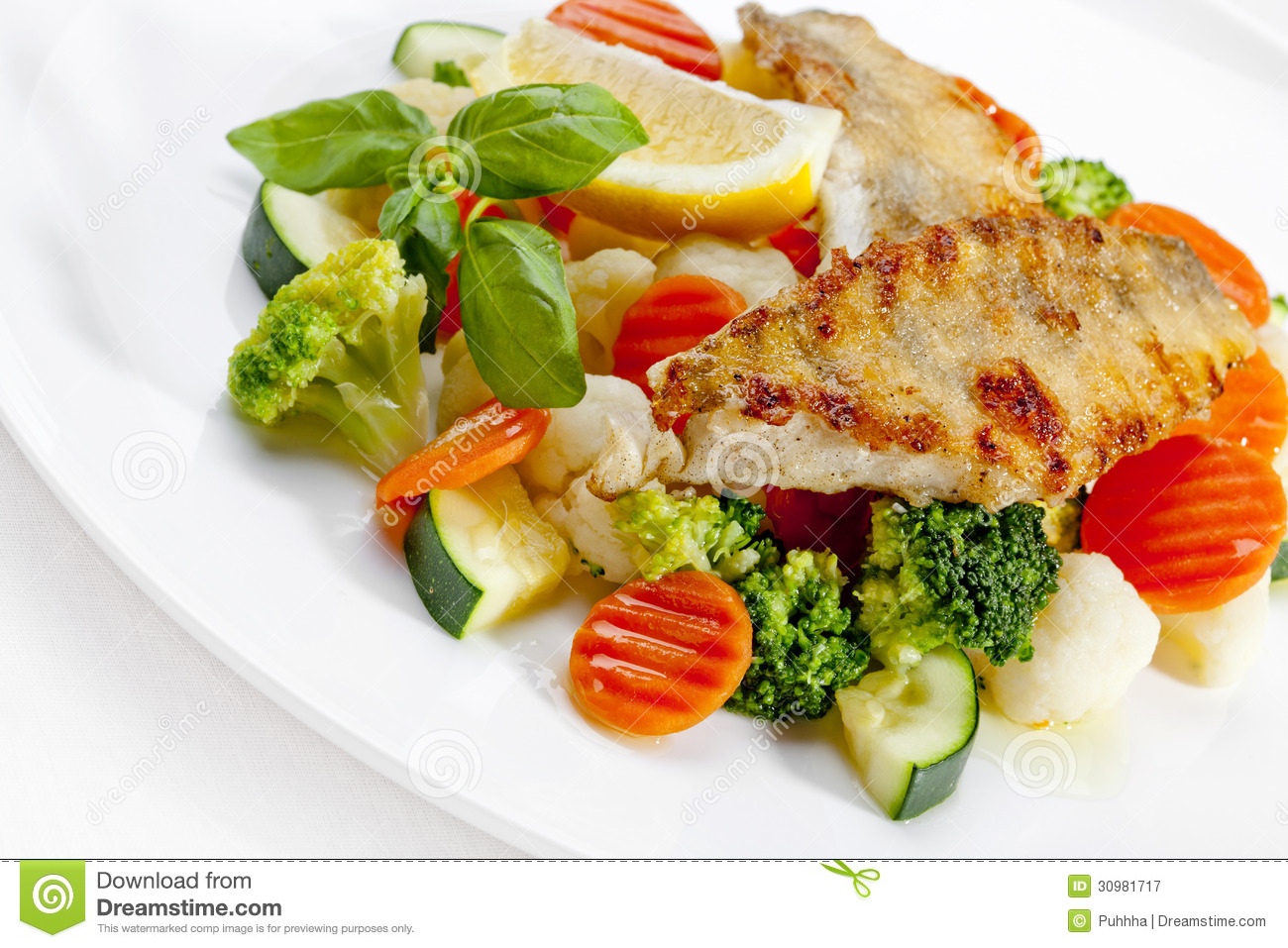 A tasty food grilled fish and vegetables high quality for Fish with vegetables