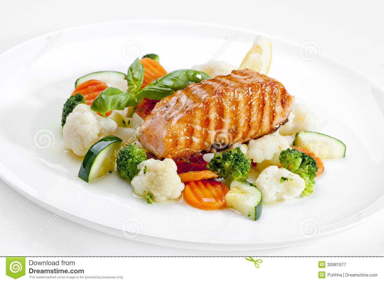 A Tasty Food Grilled Fish And Vegetables High Quality Image Stock