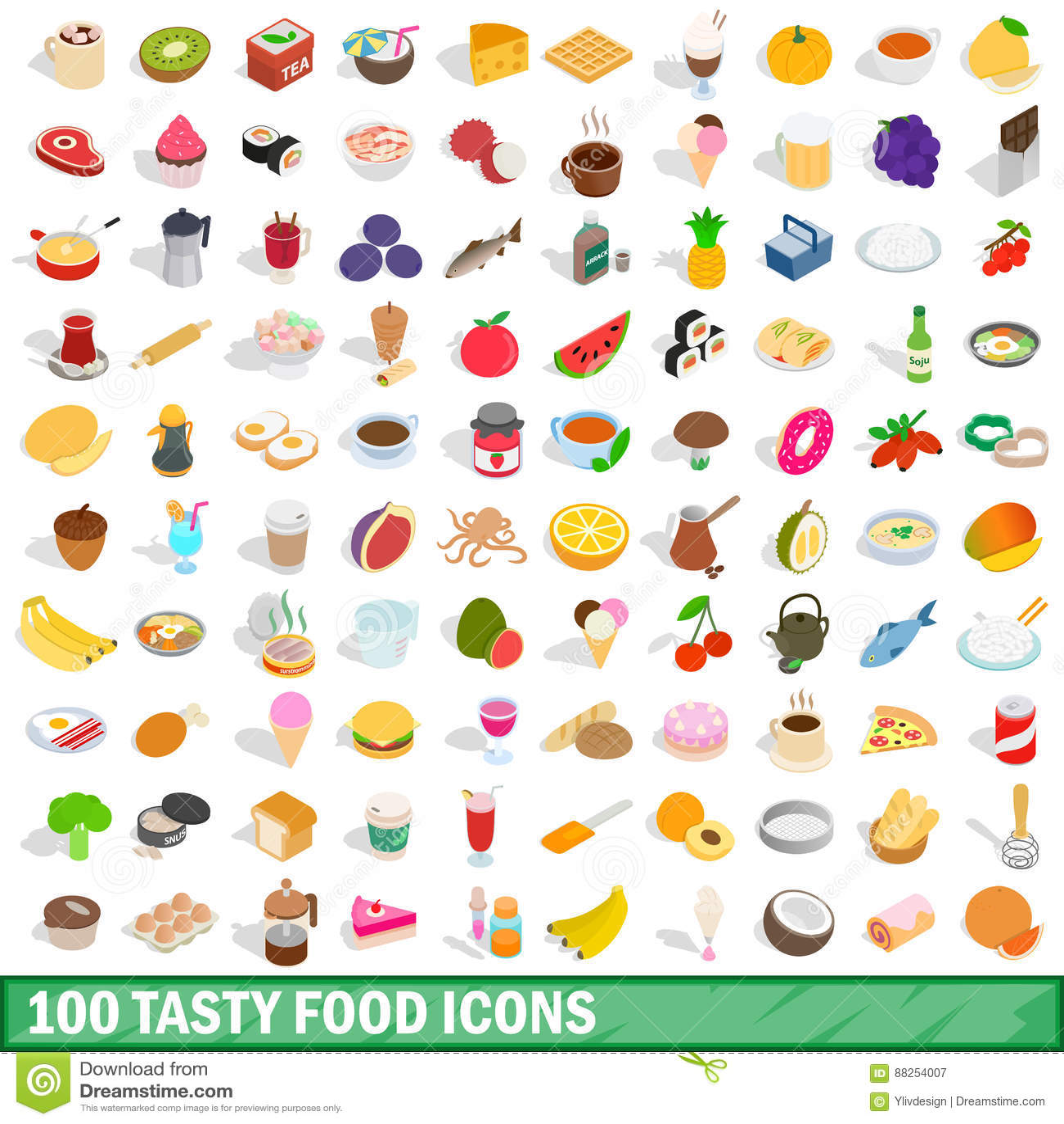 100 tasty food icons set, isometric 3d style