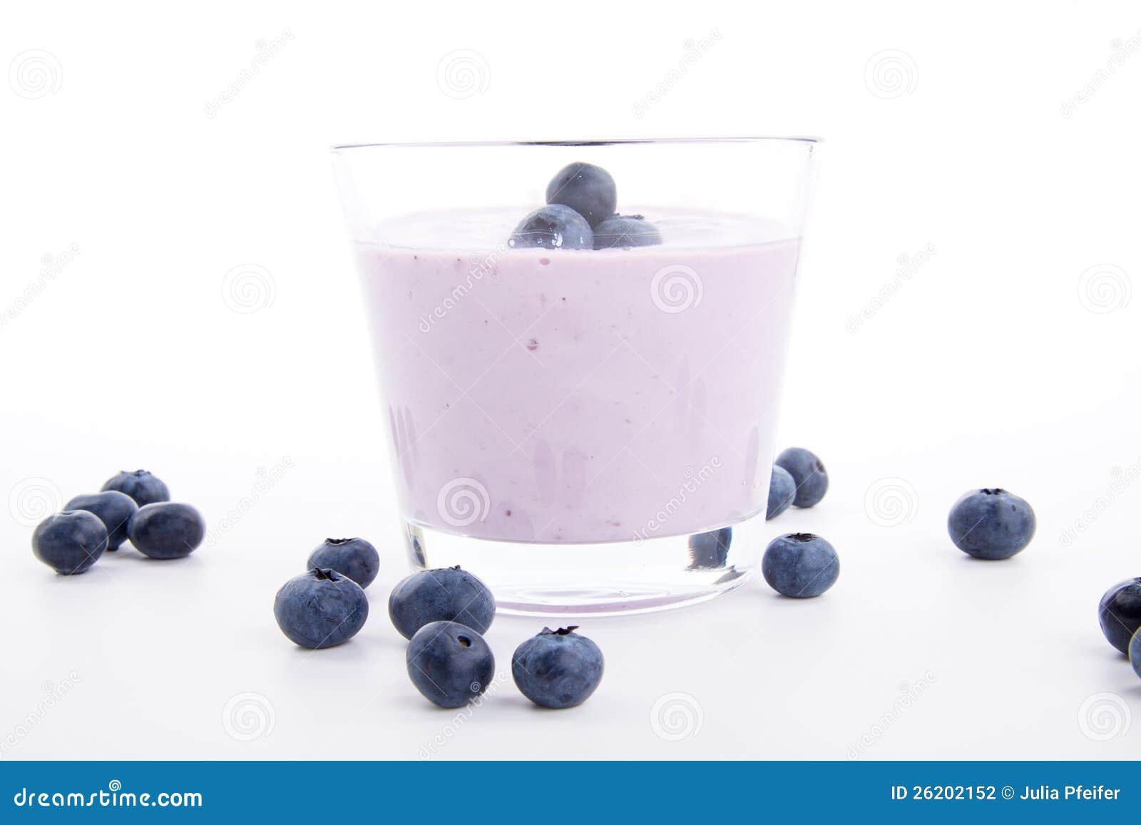 Tasty fresh blueberry yoghurt shake dessert