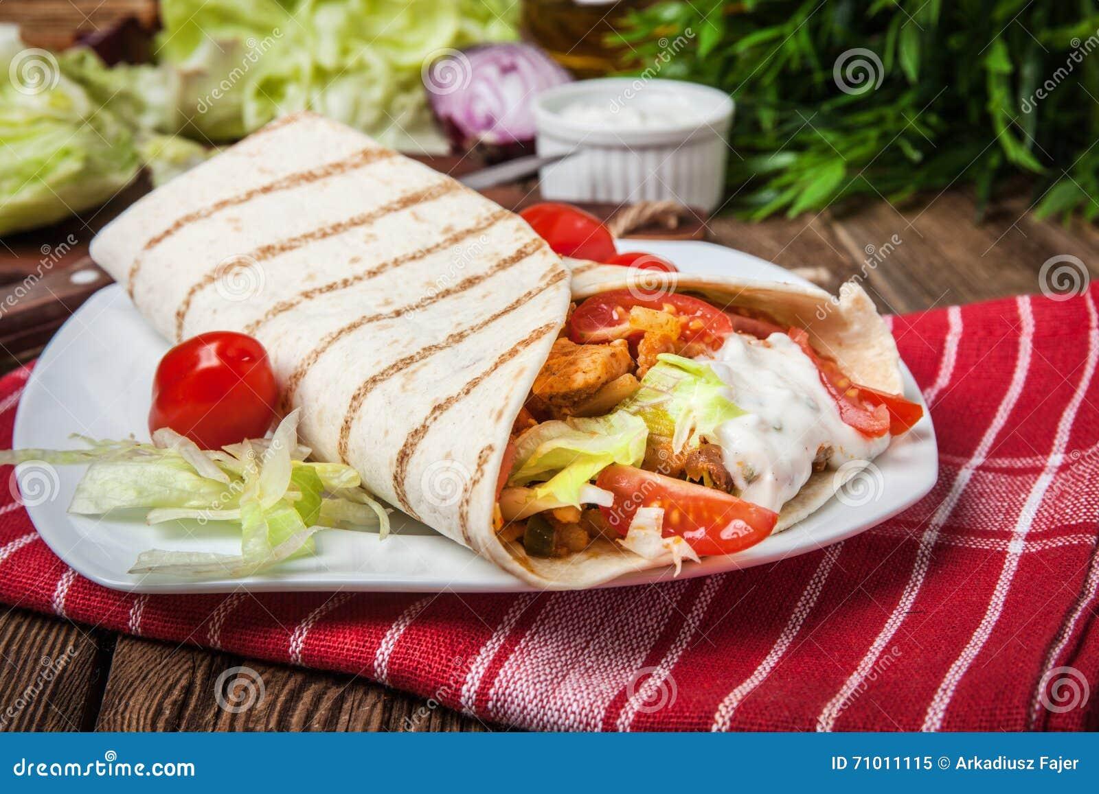 Tasty Fresh Wrap Sandwich. Stock Photo