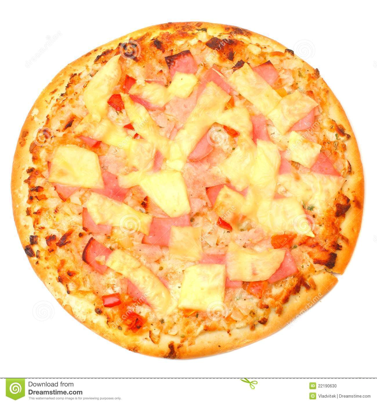 Tasty Ham And Pineapple Pizza. Stock Photo - Image: 22190630