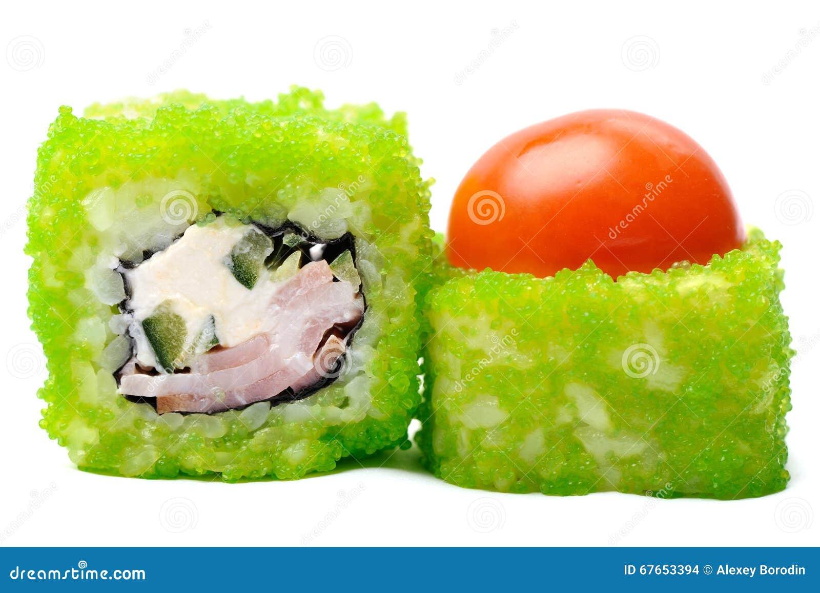 Tasty Japanese Fantasy Rolls With Cherry Tomato, Cucumber