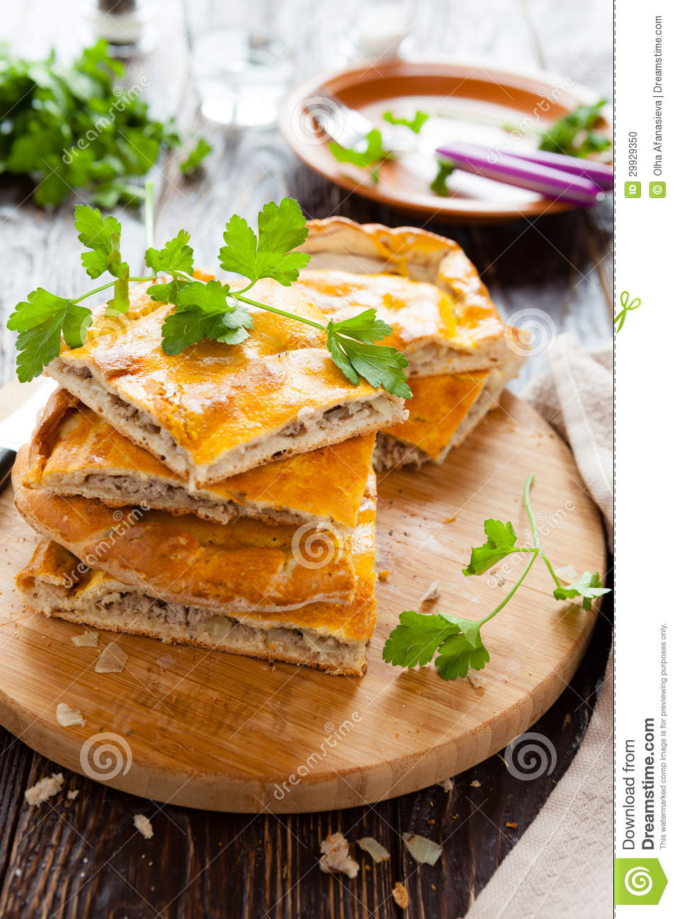 Tasty Meat Pie Pieces And Parsley Stock Photo - Image: 29929350