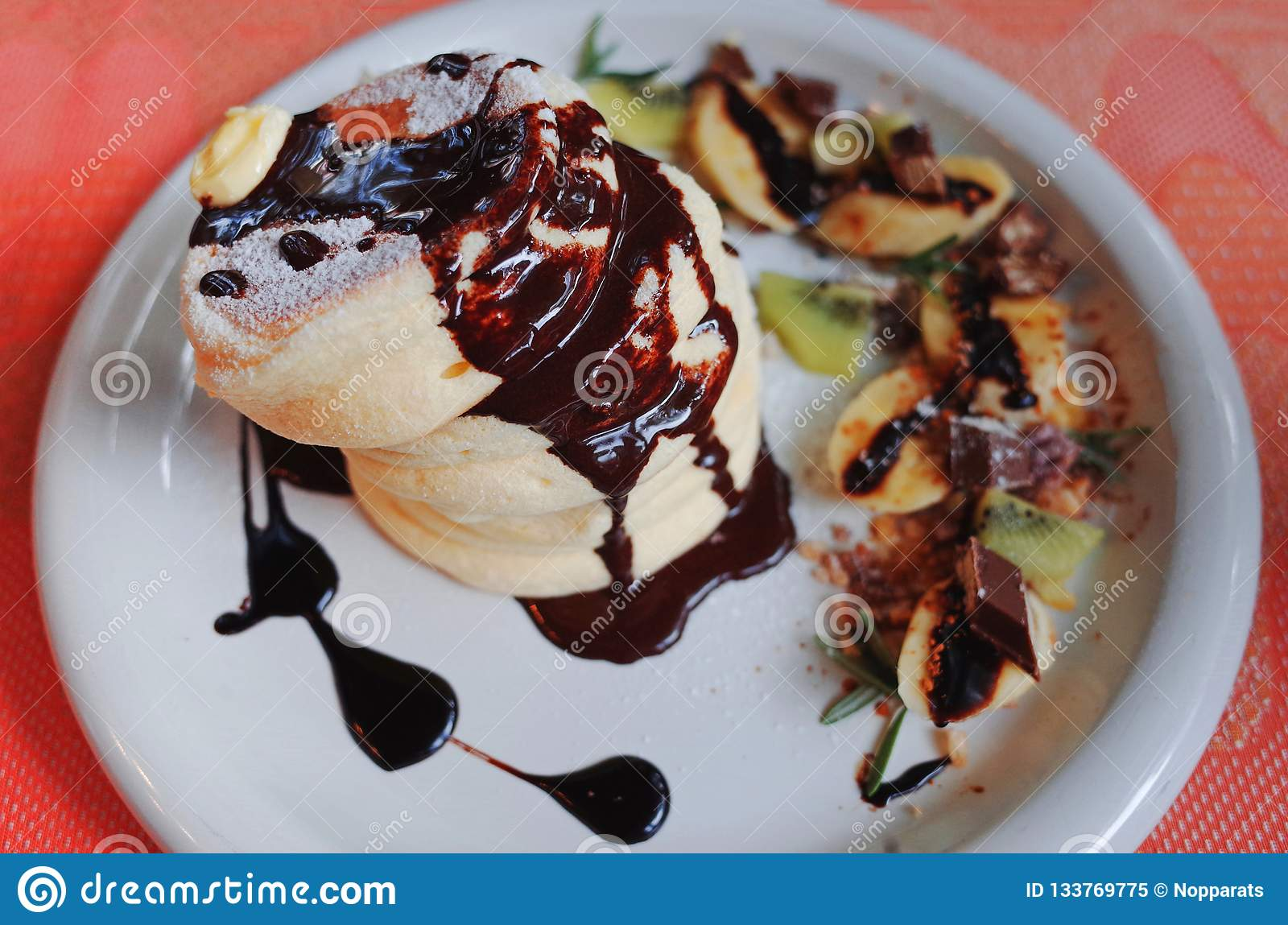 Tasty Pancakes with chocolate on top