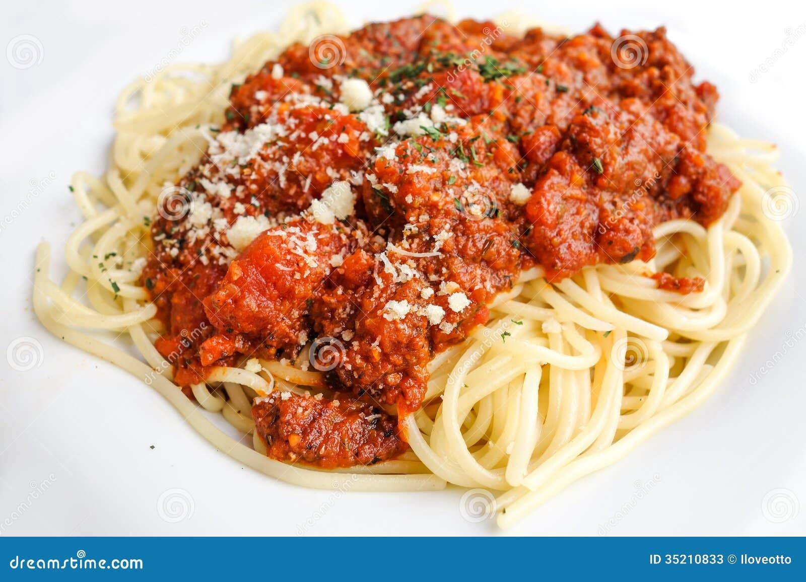 Tasty pasta-Italian meat sauce pasta on the table.