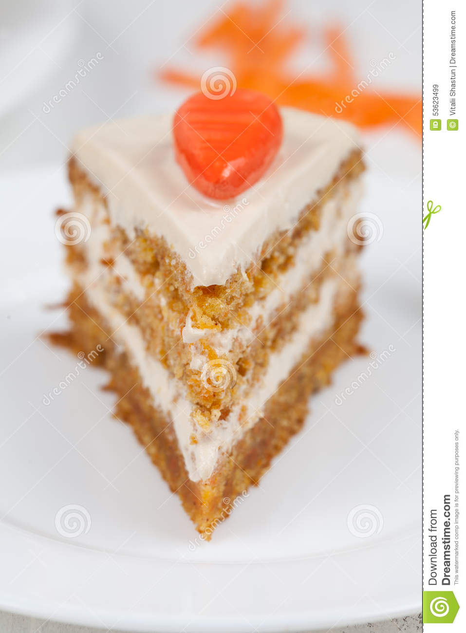 Carrot Cake On White Plate