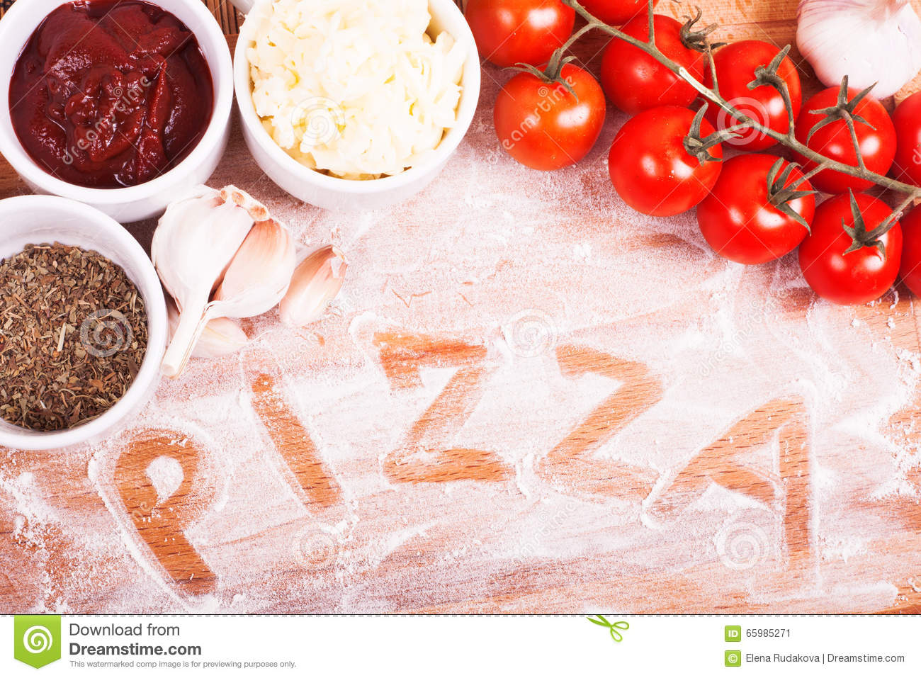 Tasty Pizza Ingredients On A Wooden Table. Hand Written ...