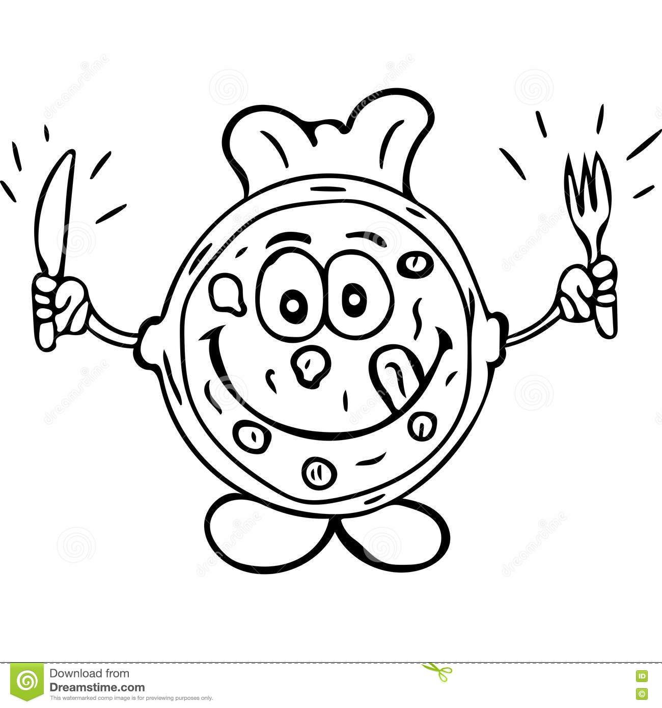 tasty pizza kids coloring page stock photo