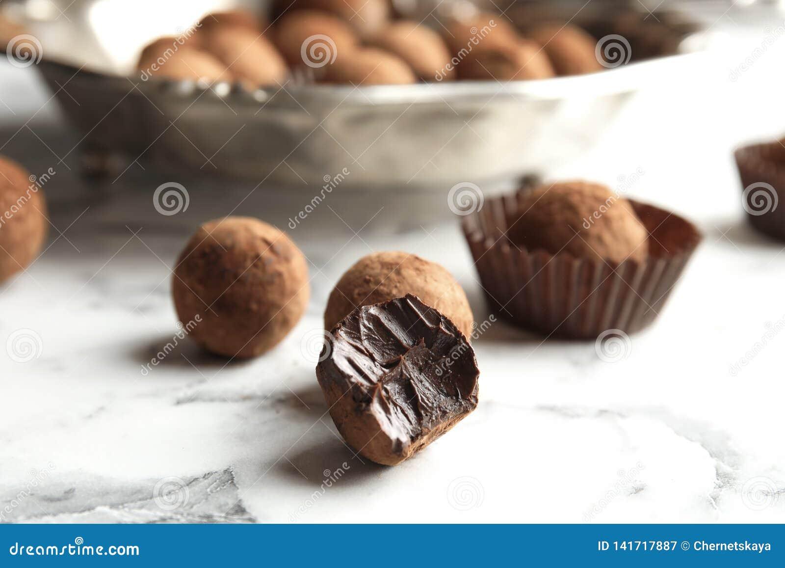 Tasty raw chocolate truffles