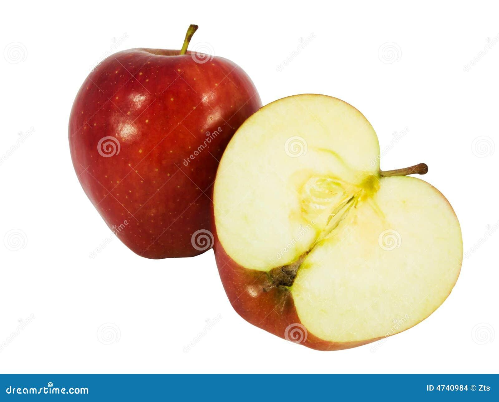 tasty red apple cut in half stock photo image 4740984