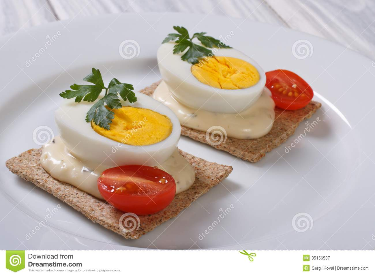 Tasty sandwiches with boiled eggs stock image image of for Canape garnishes