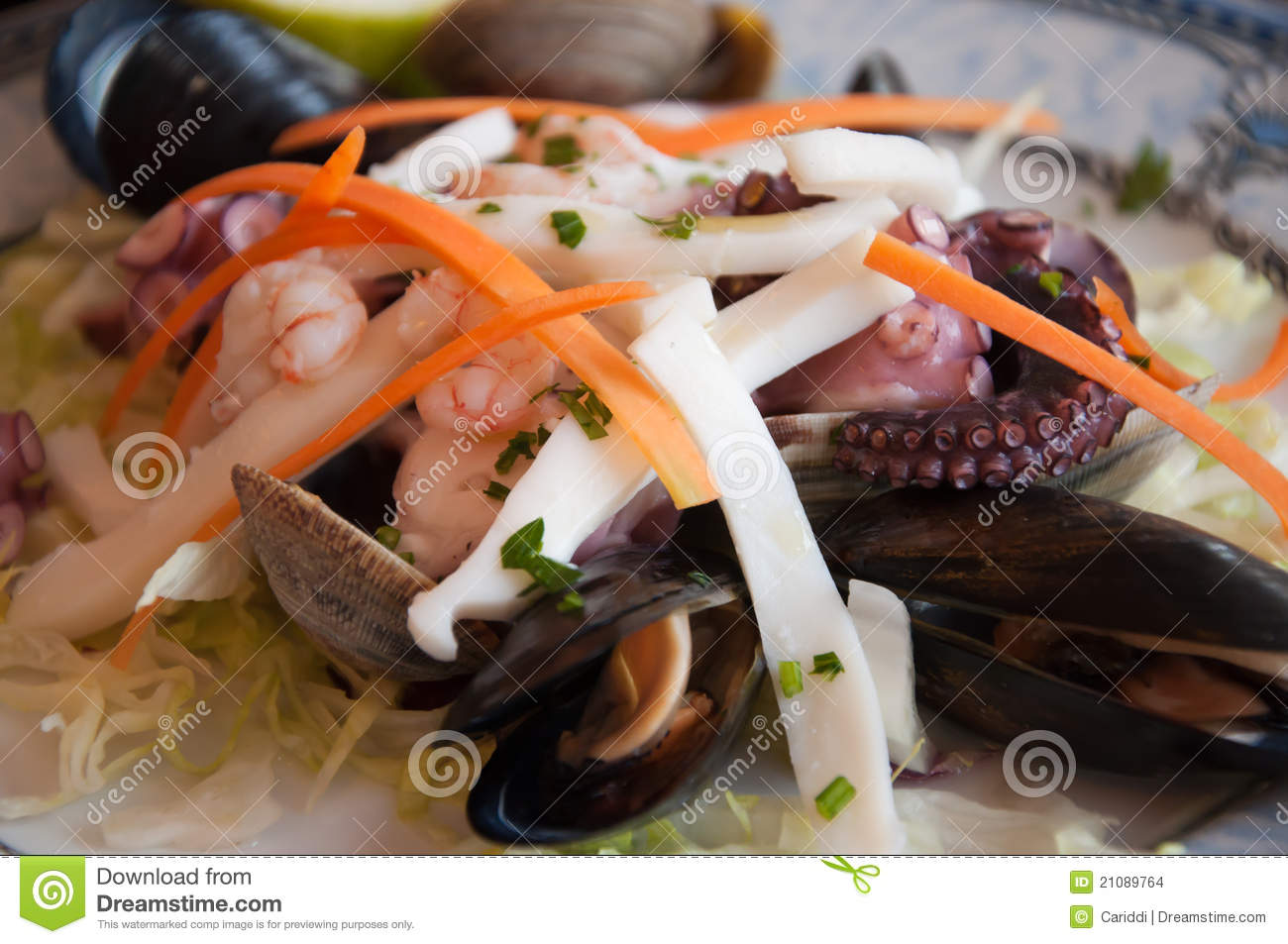 Squid And Mussel Salad Recipe — Dishmaps