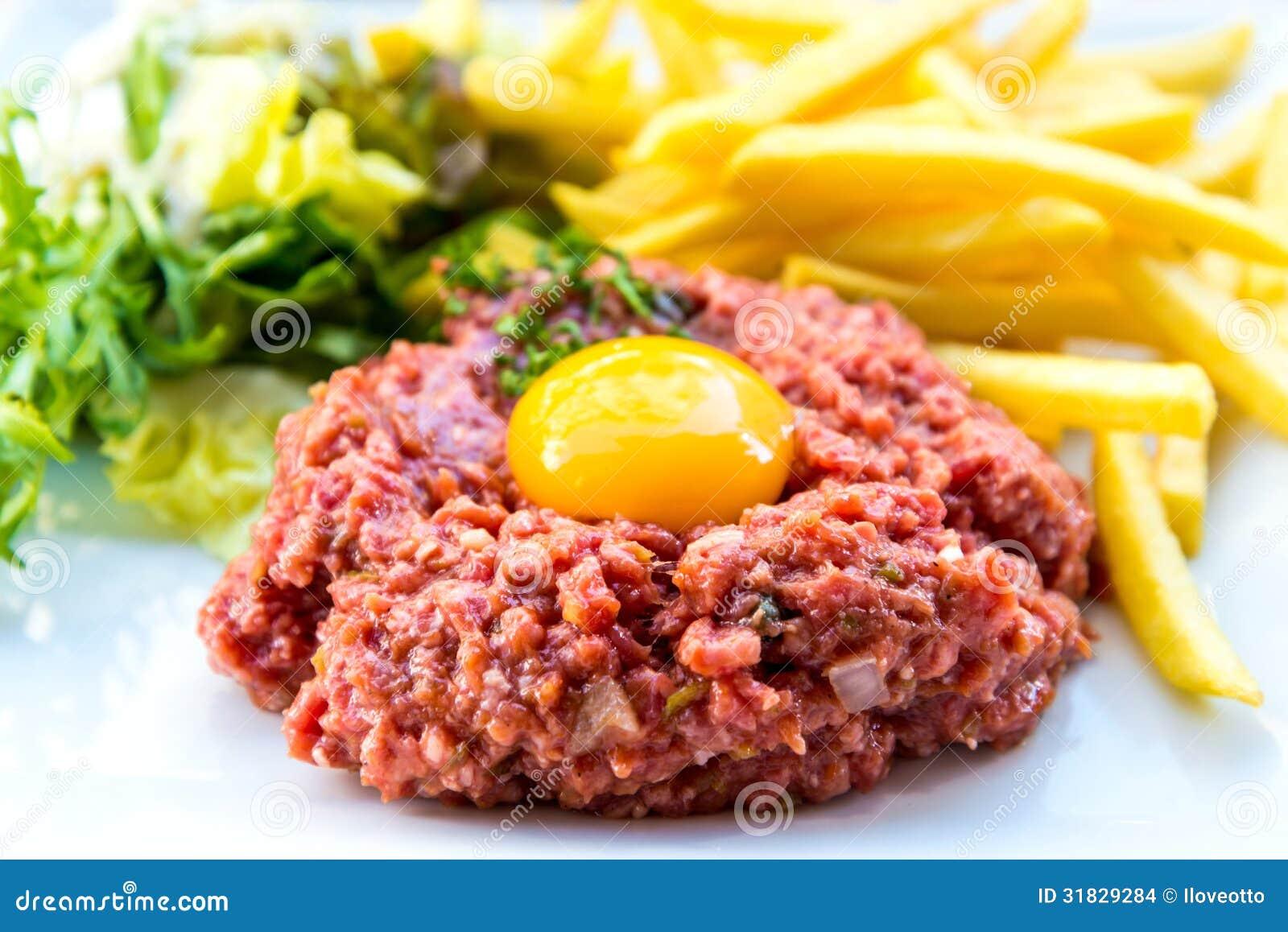 Tasty Steak tartare (Raw beef) - classic steak tartare on white plate.