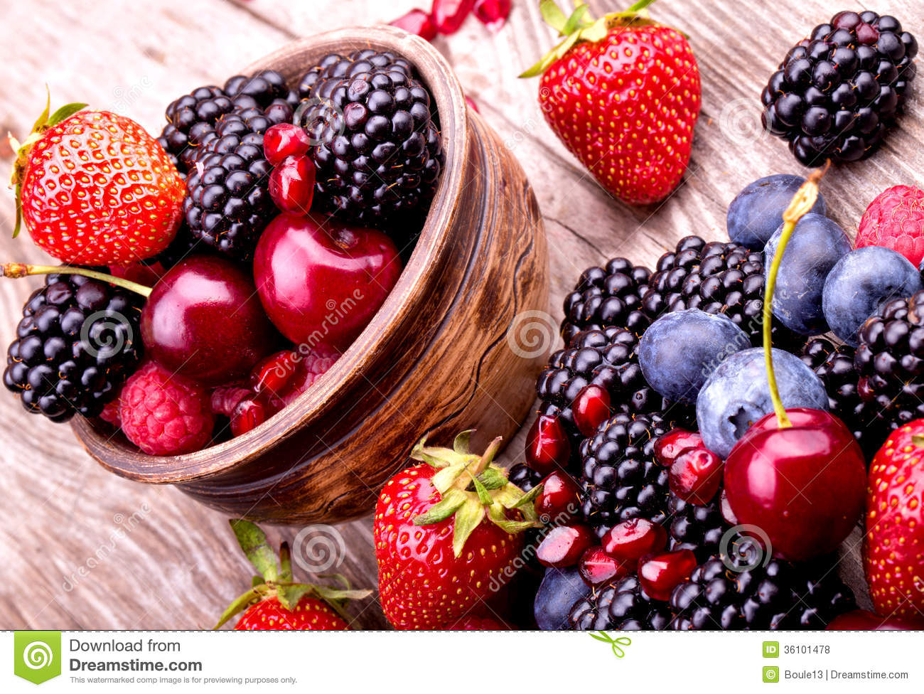 Tasty Summer Fruits On A Wooden Table Royalty Free Stock