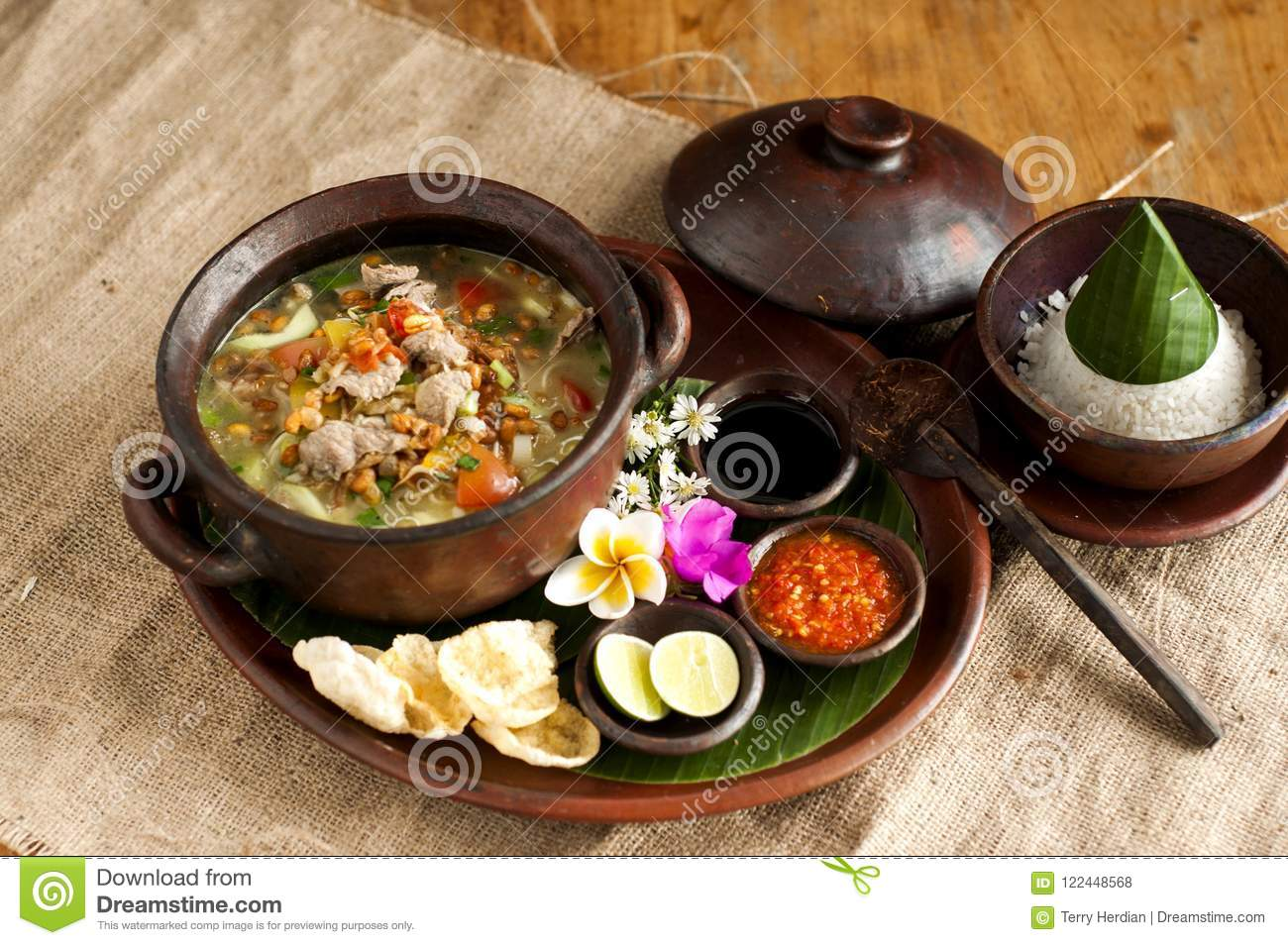 Tasty Traditional Dishes Call Soto Betawi In Brown Bowl Stock Photo