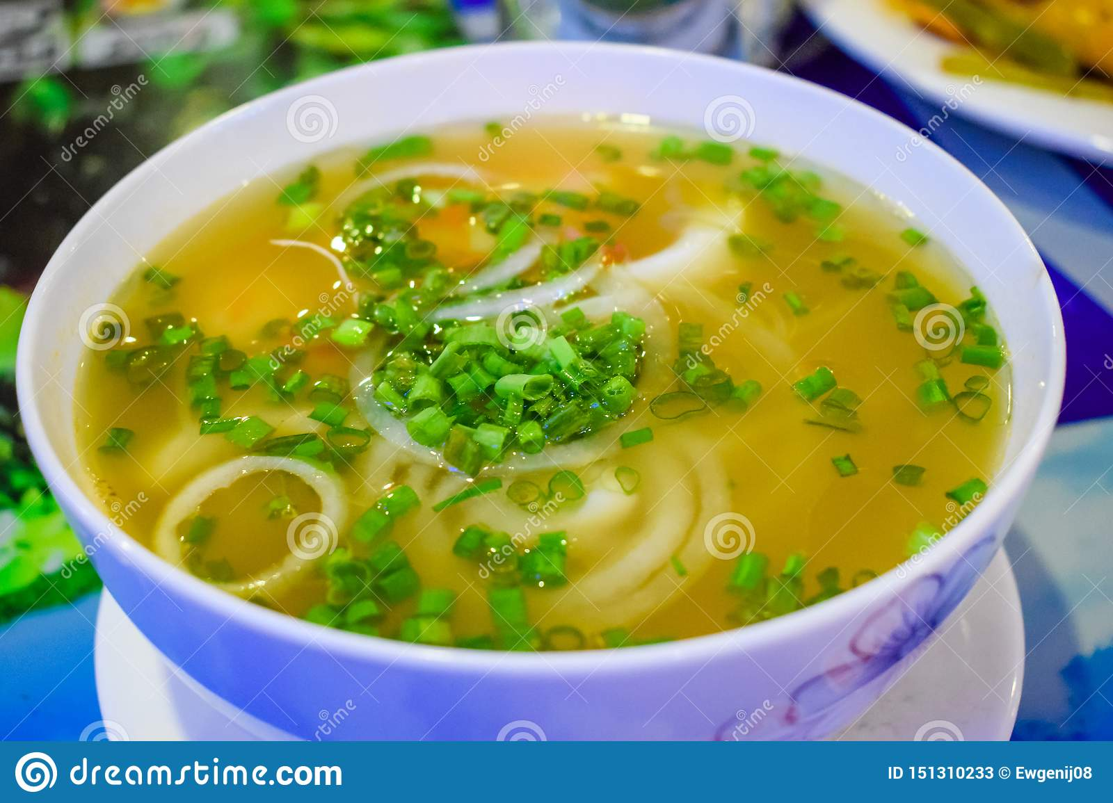 Tasty vietnamesse soup with seafood and noodles