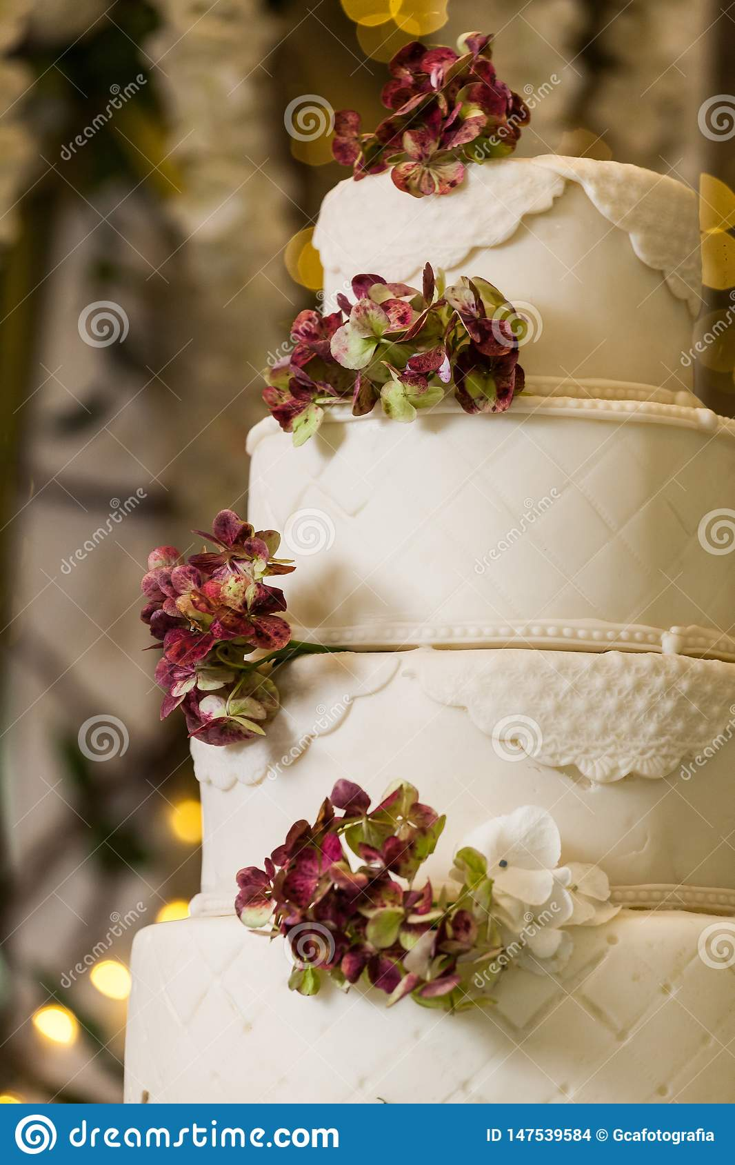 Tasty wedding cake, decorated with flowers