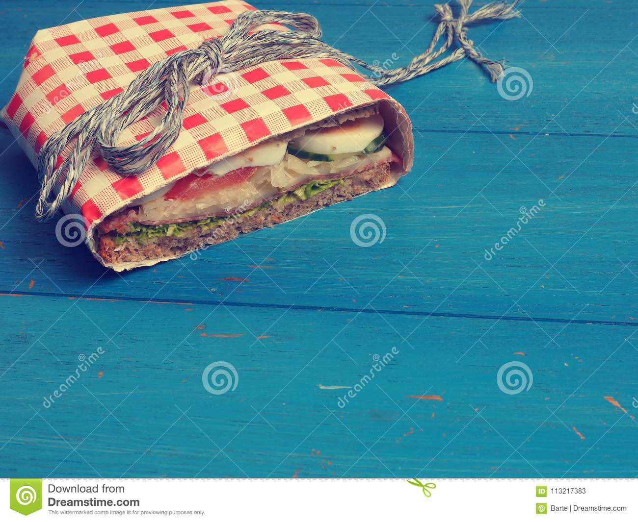 Tasty Sandwich On A Blue Table Stock Image - Image of healthy ...