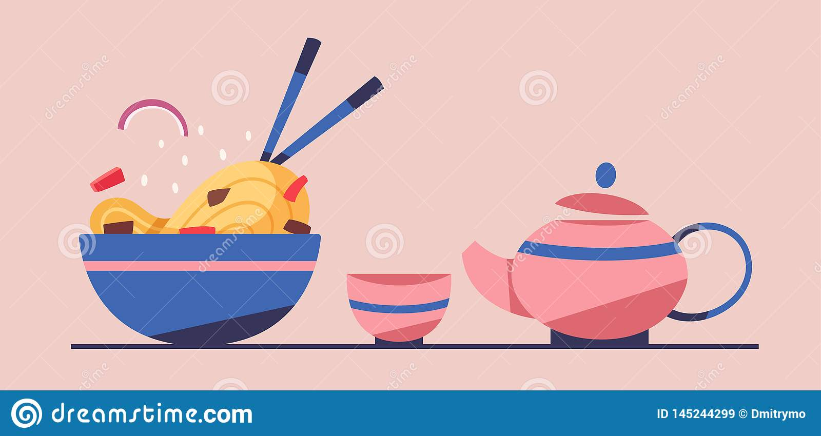 Tasty wok. Chinese cuisine. Flat vector illustration