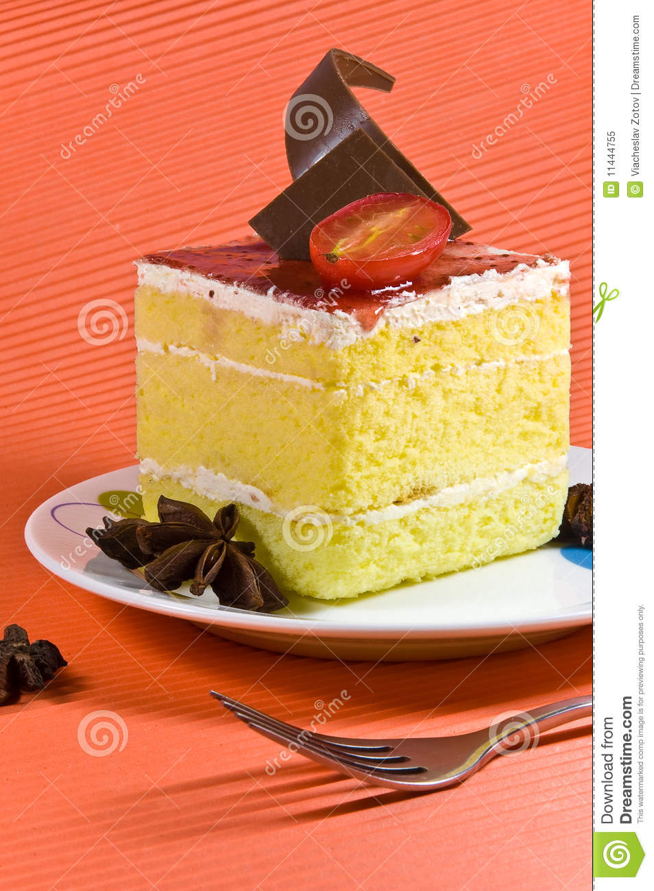 Cake With Cream Layer : Tasty Yellow Cake With Cream Layer And Chocol Royalty Free ...