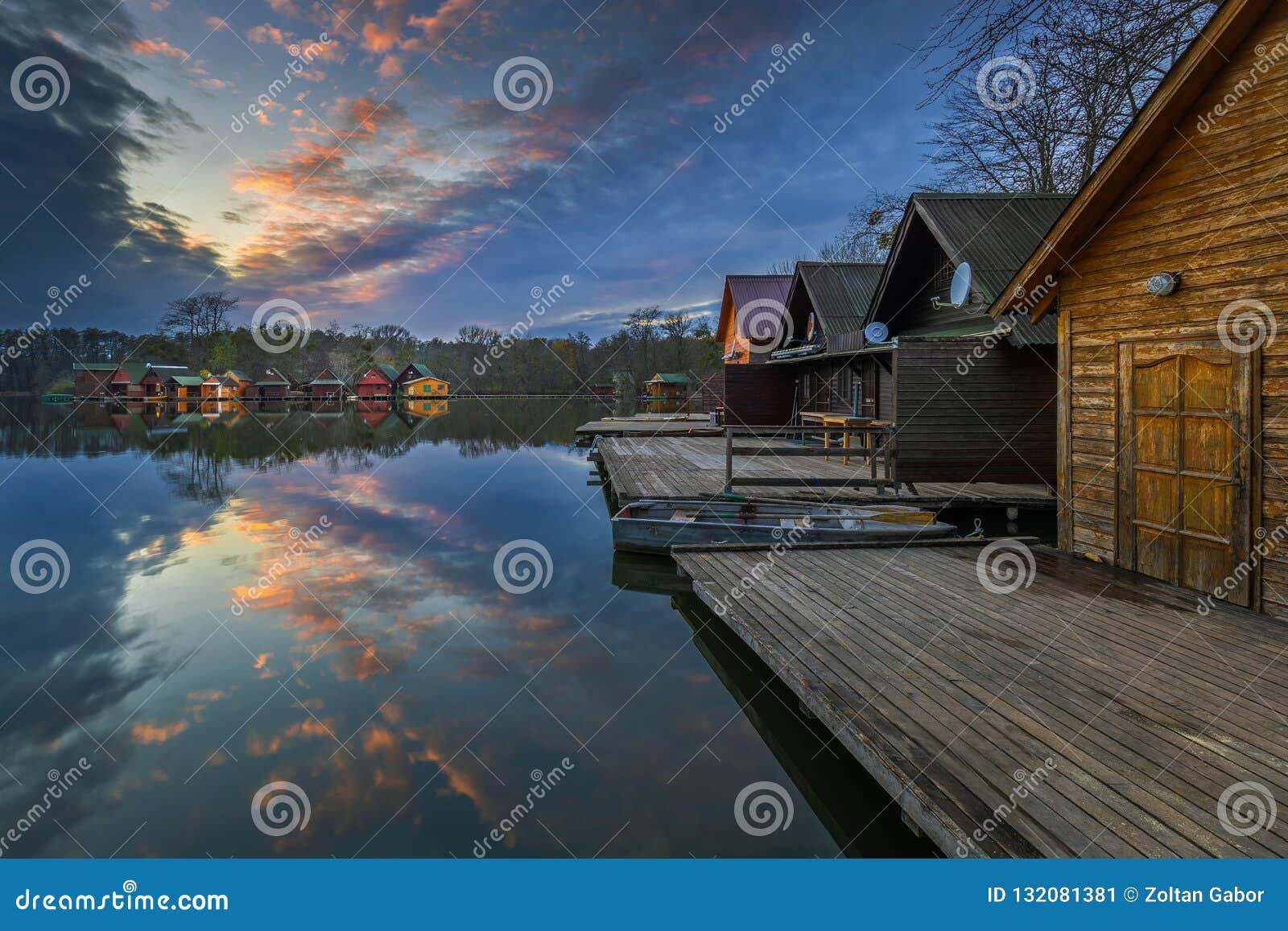 Tata, Hungary - Beautiful Sunset Over Lake Derito Derito To