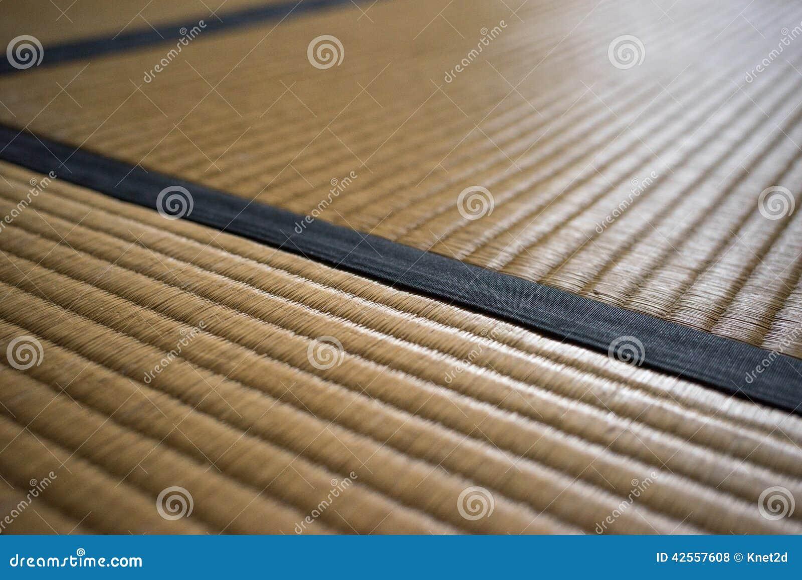 Tatami Mat Closeup With Violet Edging Heri Stock Photo