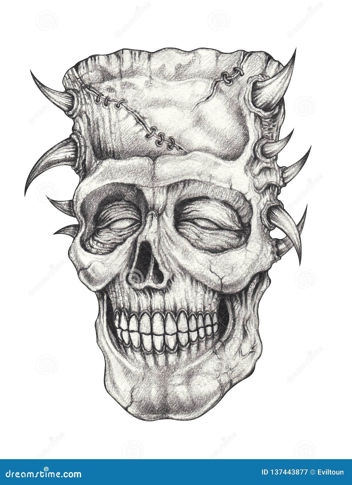 Tatoegering van de kunst surreal schedel
