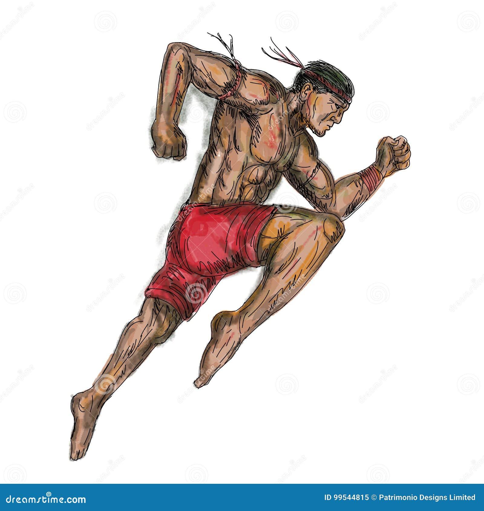 Tatoegering van de Muay de Thaise In dozen doende Vechter