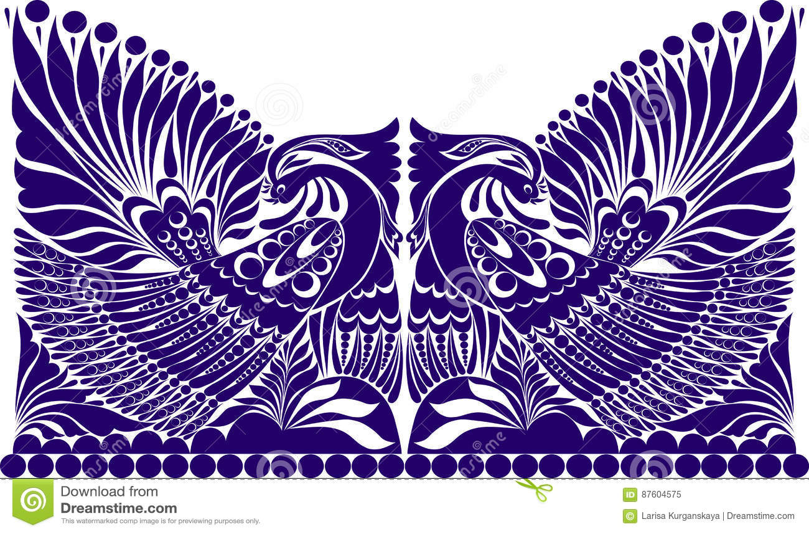 Tatoegerings Russisch ornament folkloreornament met vogel