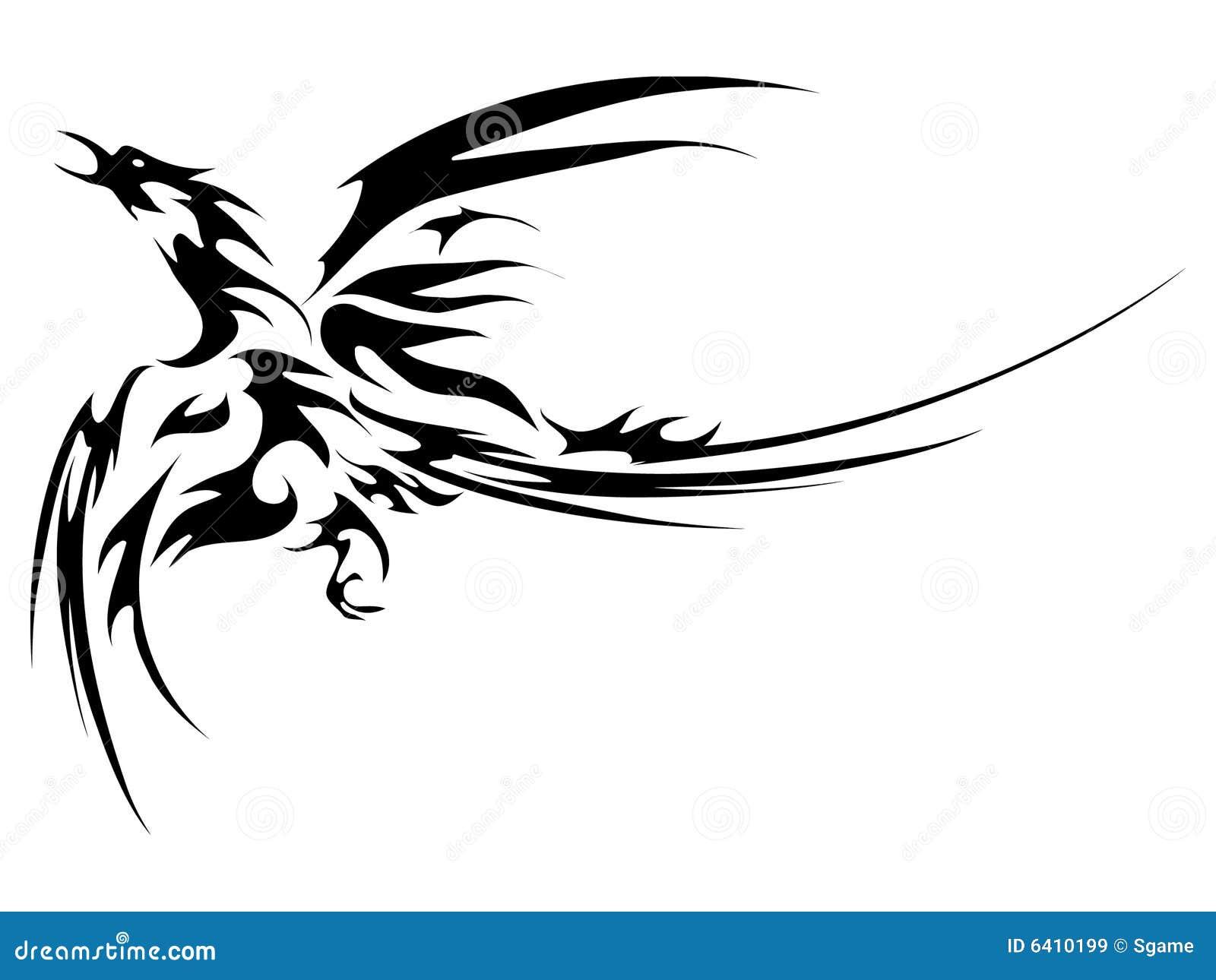 Tatoo de mouche de Phoenix d'isolement sur le fond blanc.