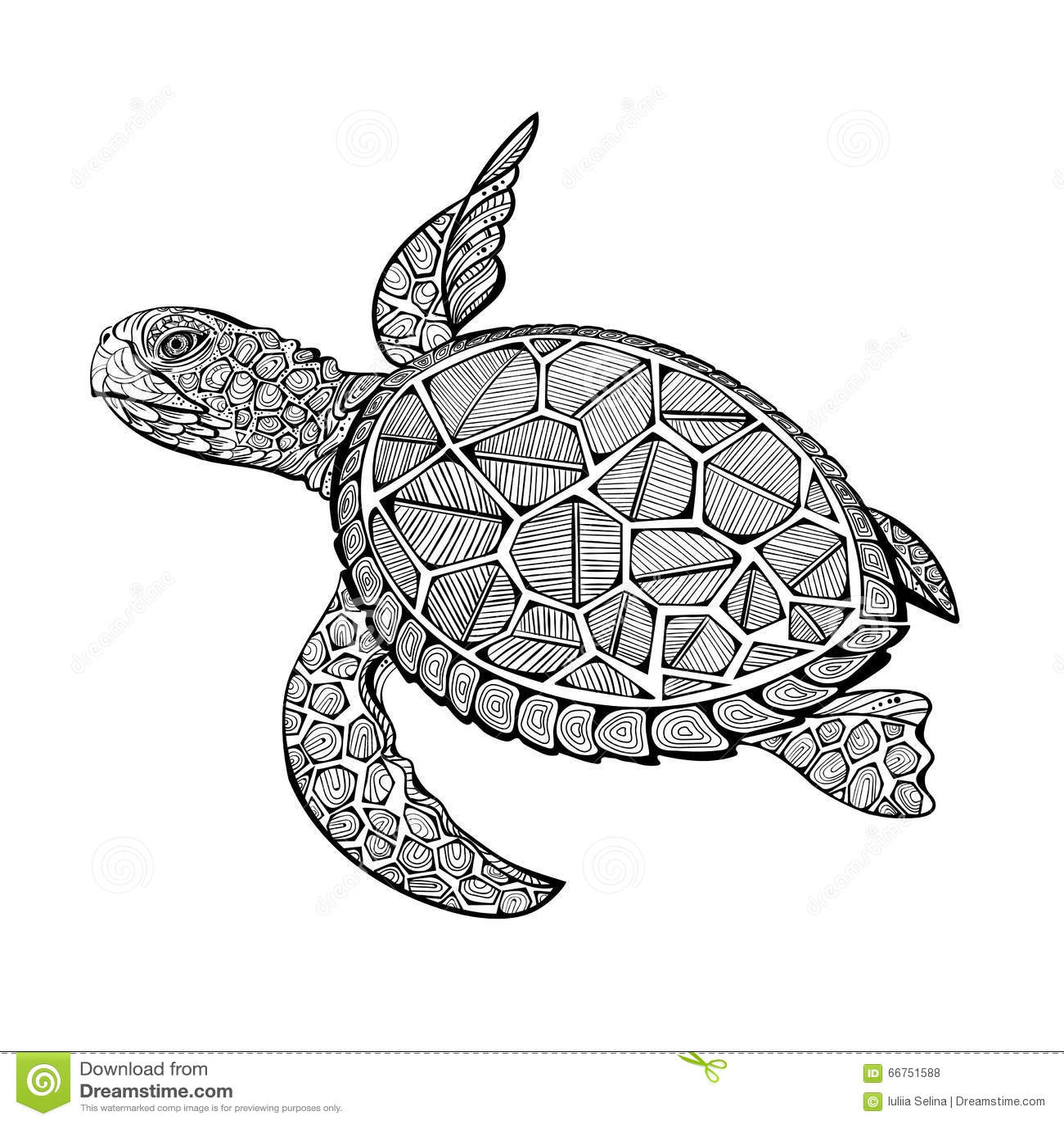 tatoo sea turtle stock vector image 66751588