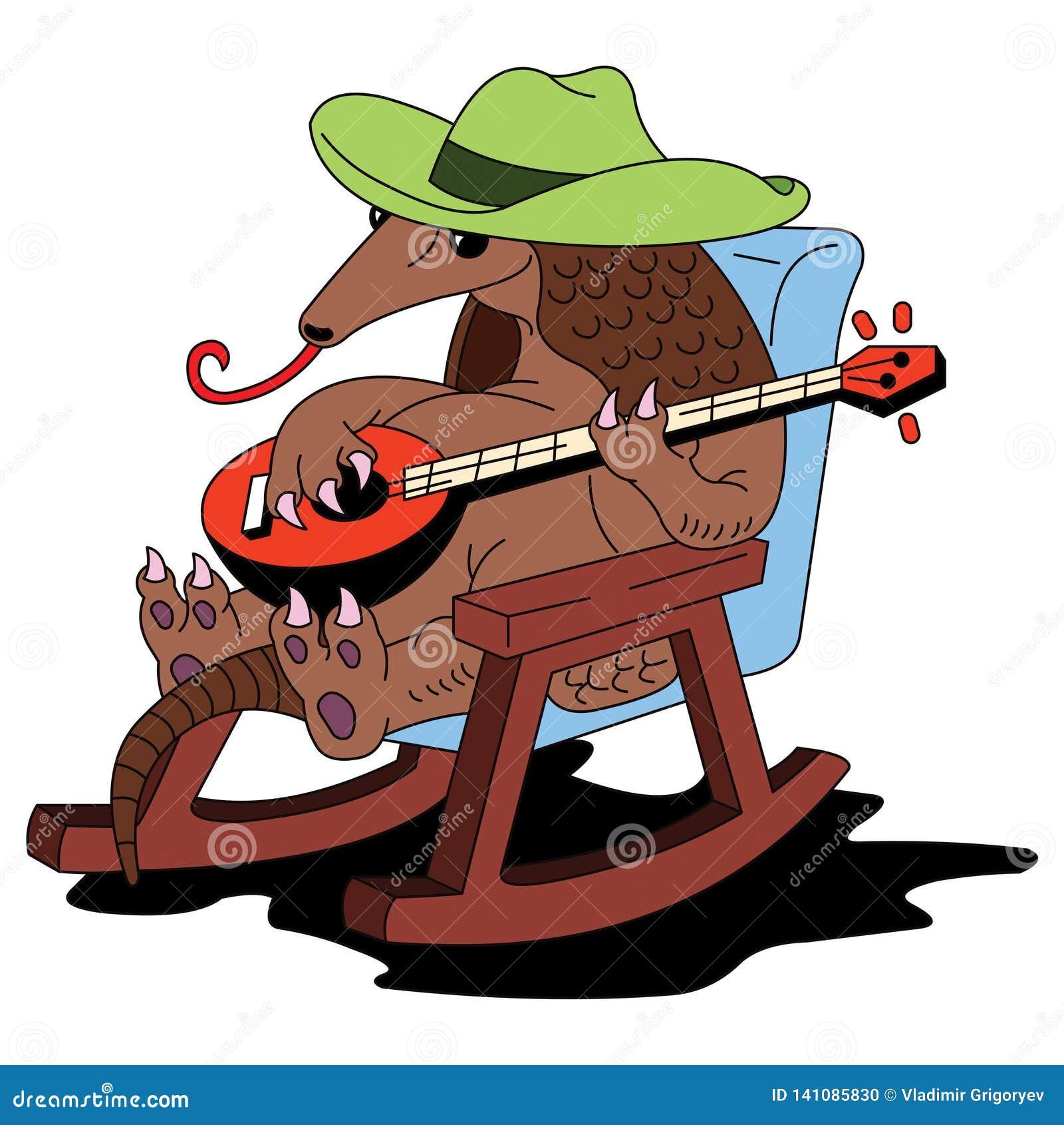 Tatou dans des jeux de chapeau sur le banjo