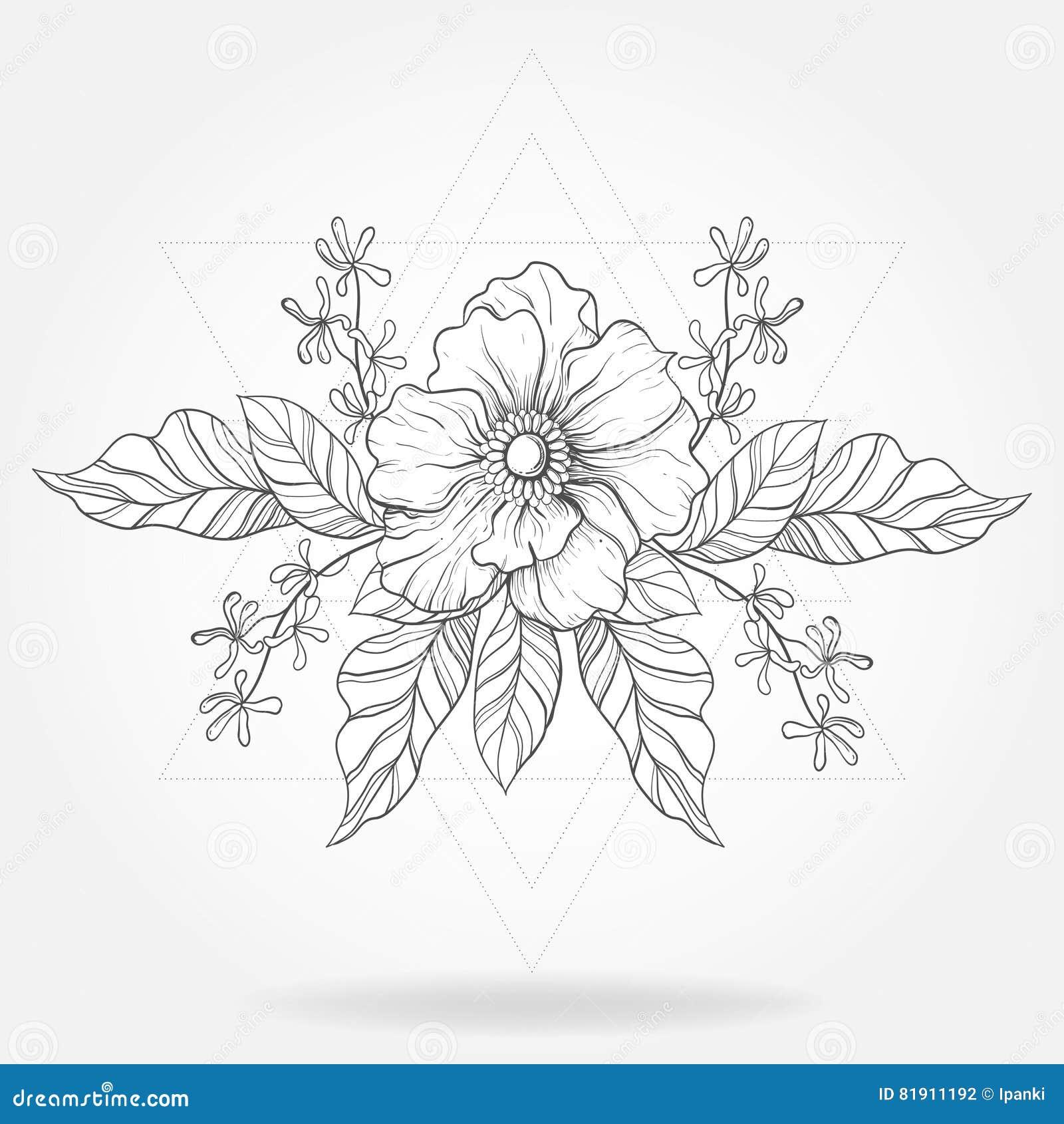 Tatouage A Main Levee De Boho Fleur De Blackwork Dans Le Fram De