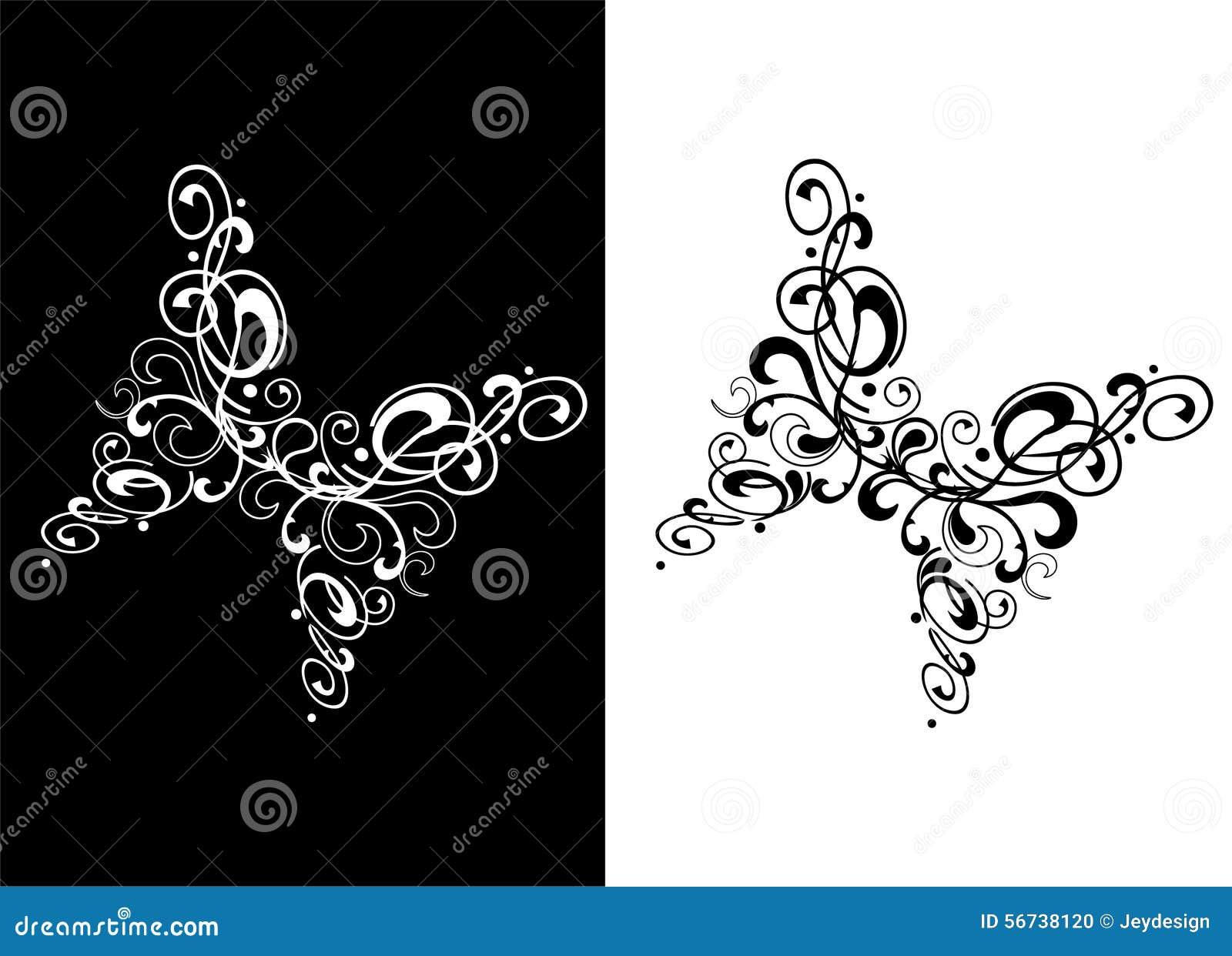 tatouage abstrait de papillon noir et blanc illustration de vecteur image 56738120. Black Bedroom Furniture Sets. Home Design Ideas